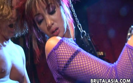 Glamour Asian stripper Katsuni submissively sucks a dick