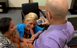 Bald boss invited his secretary Alexis Silver and her sister in the office